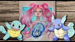 Pokemon Squirtle & Cute Cartoon Girl - How To Draw And Color Pokemon Go Characters