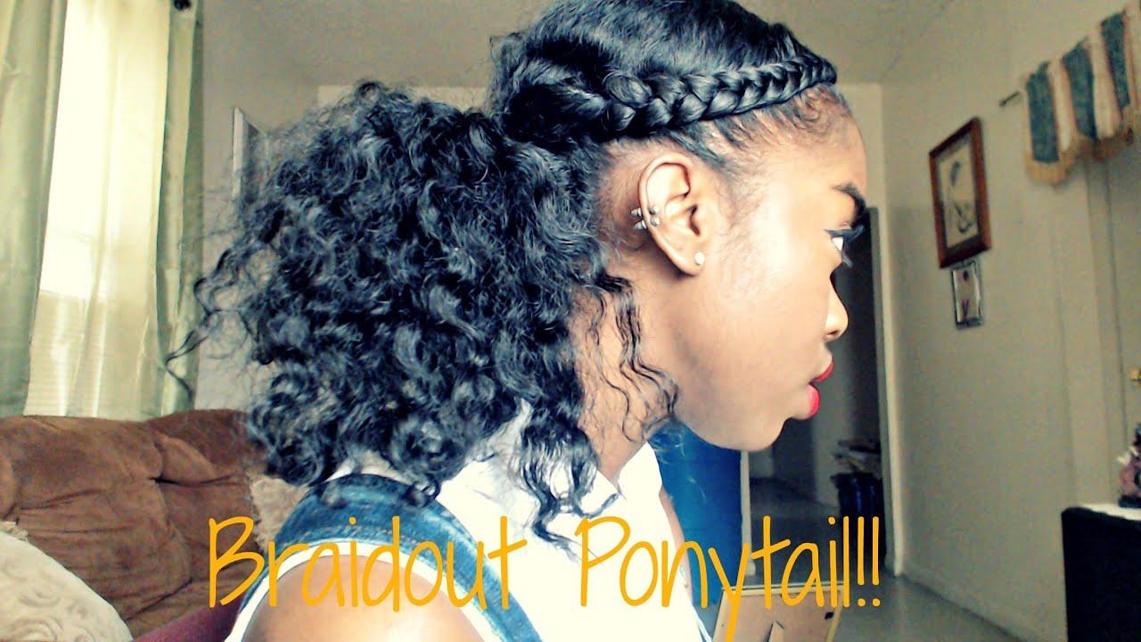 natural hair - braidout ponytail