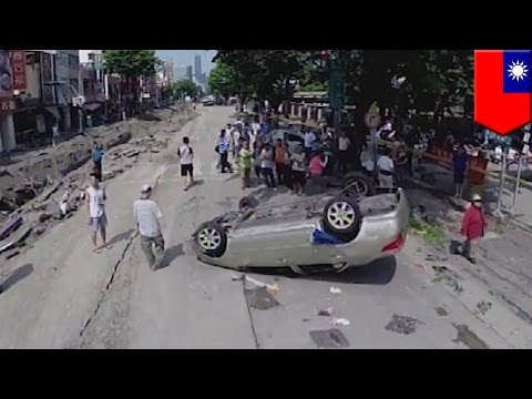 Drone camera footage: aftermath of Kaohsiung gas explosion that killed 25