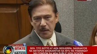 Sotto at Seguerra, nagkaayos na matapos magkainitan sa isyu ng pamimigay ng condom sa mga public HS