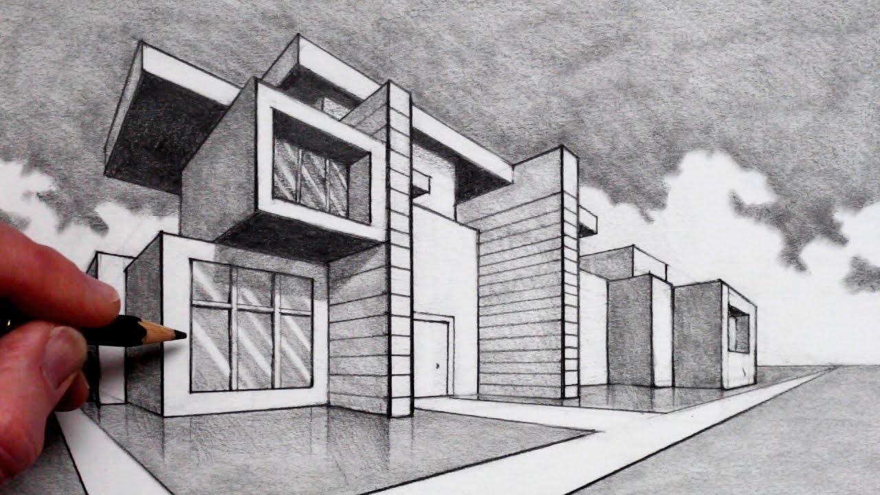 How To Draw In 2 Point Perspective Modern House Youtube