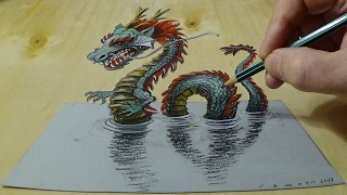 3D Drawing of a Chinese Dragon - How to Draw 3D Water Dragon - Trick Art on Paper