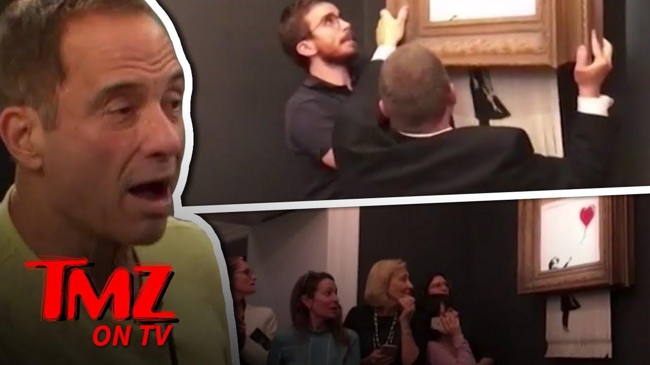 banksy painting self destructs tmz tv youtube. Black Bedroom Furniture Sets. Home Design Ideas