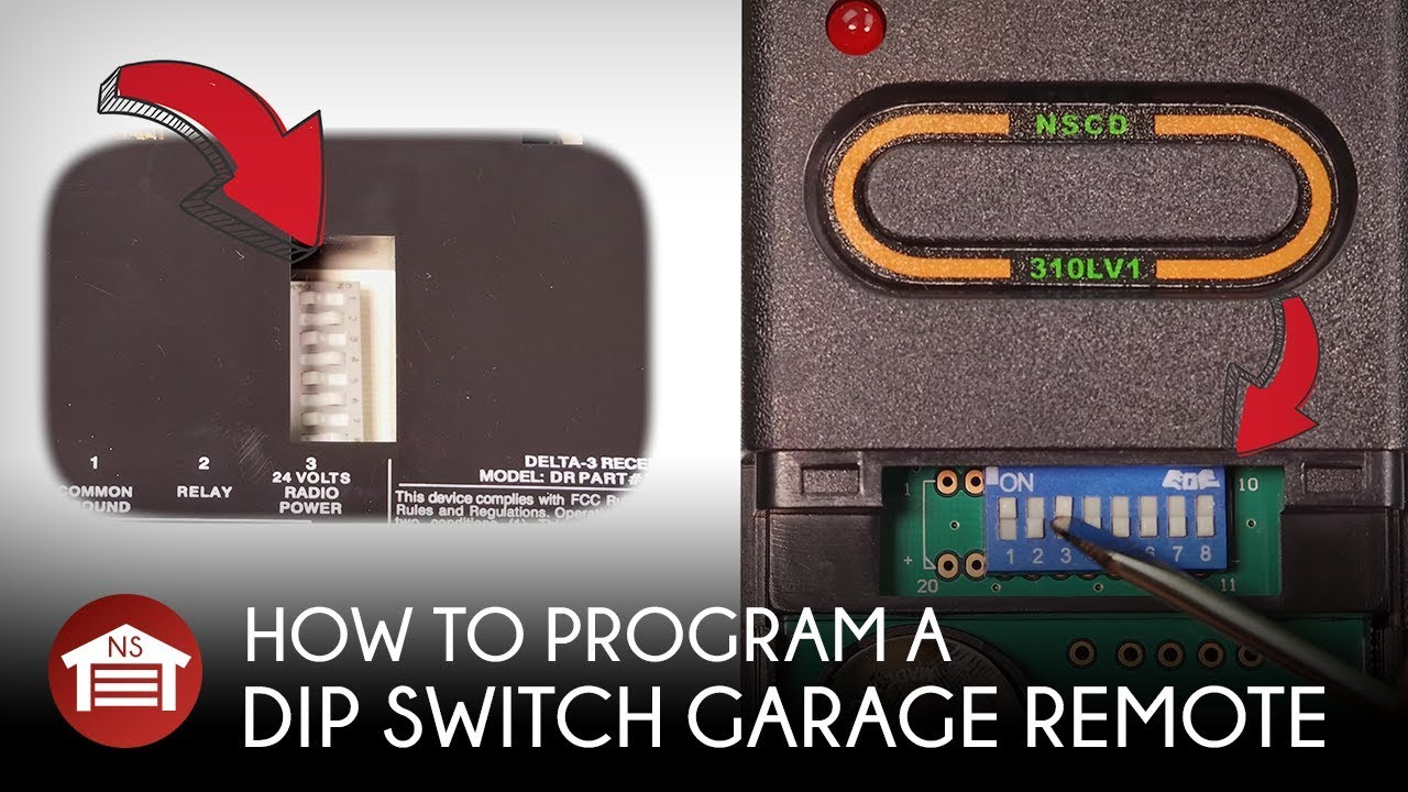 How To Program Dip Switch Garage Door Receiver Operator Remote Youtube