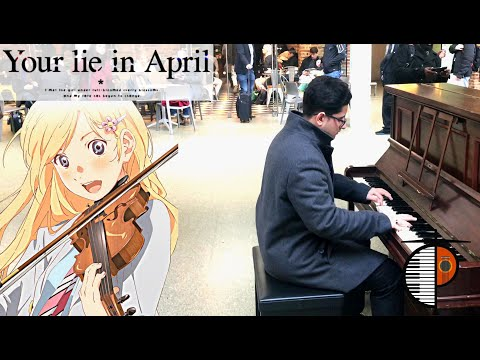 Playing ANIME Songs On Piano In Public -- Your Lie In April Op.1 - Hikaru Nara REMAKE