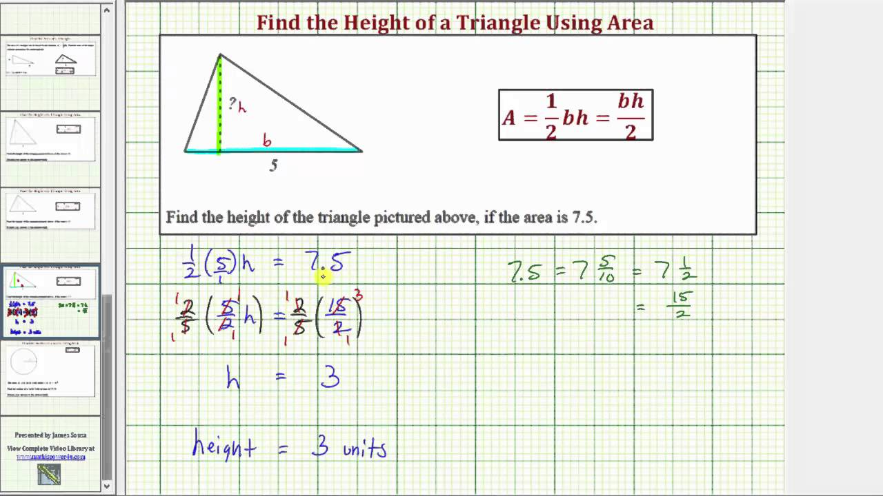 Ex: Find The Height Of A Triangle Given Area (odd Base And Decimal Area)