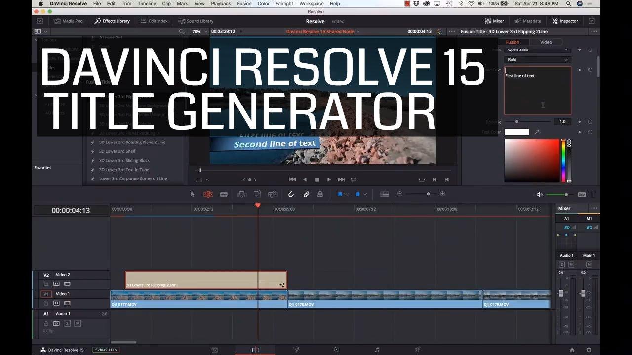 Davinci Resolve 15 - Title Creator