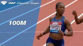 Shelley Ann Fraser-Pryce denies a Dina Asher-Smith over 100m in London - IAAF Diamond League 2019