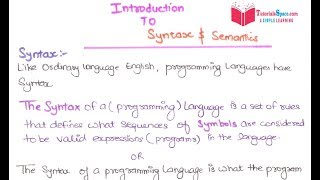 23- What is Syntax And Semantics in Programming Languages | Syntax And Semantics