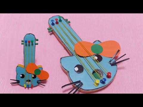 DIY Hello Kitty Guitar From Cardboard   Building Guitar Art and Handmade Craft Decor