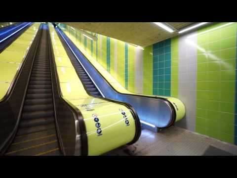 Sweden, Stockholm, Hallunda Subway Station, fast SMW inclined elevator