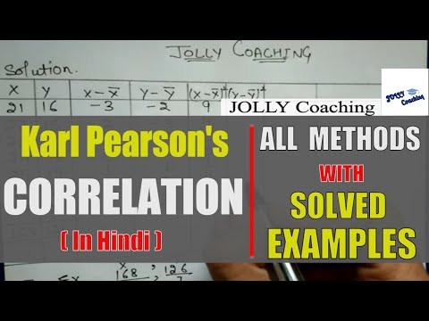 Karl's Pearson Correlation in Hindi with solved Example By JOLLY Coaching