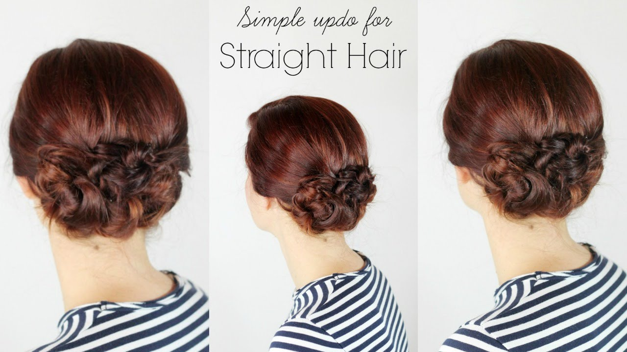 simple updo for straight hair   youtube