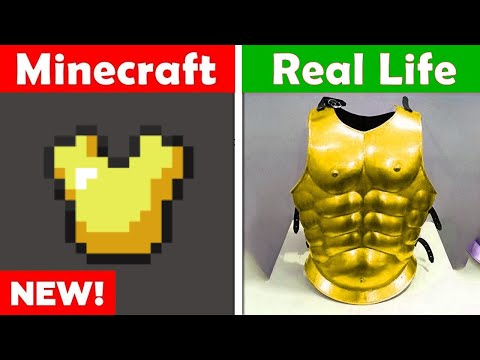 MINECRAFT GOLD CHESTPLATE IN REAL LIFE! Minecraft Vs Real Life Animation CHALLENGE