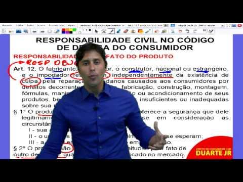 Direito do Consumidor – Responsabilidade Civil no CDC Parte I - Prof. Duarte Jr. - Aula 06/14.
