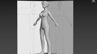 3DS Max Woman character Body ; cylinder base