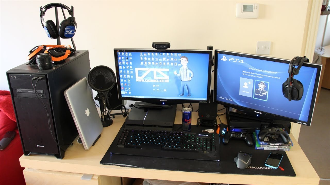 My Gaming Setup, My PC with Xbox One & PS4! [Christmas ...