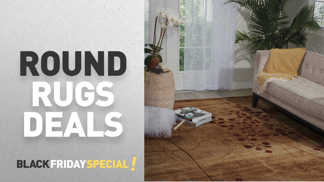 Black Friday Round Rugs Deals: Nourison Somerset (ST74) Latte Rectangle  Area Rug, 5 Feet 3 Inches By