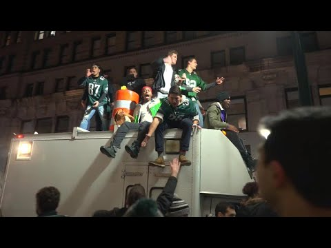 Philadelphia Eagles fans get rowdy after Super Bowl victory