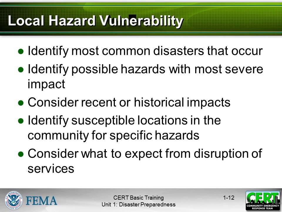 Disaster Preparedness - CERT Basic Training (Unit 1)