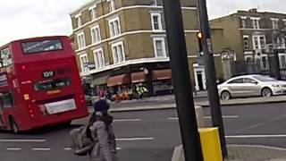 Moment cyclist hit by car caught on camera in London
