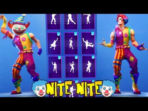 "*NEW* Fortnite ""Nite Nite"" CLOWN Skin Showcase With Popular DANCES & EMOTES..!! (Season 6 Skin!)"