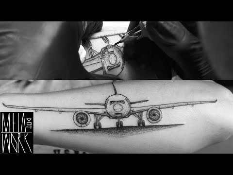 DOTWORK TATTOO TECHNIQUES | REAL TIME | BLACKWORK AIRPLANE  by M E I A | NYC