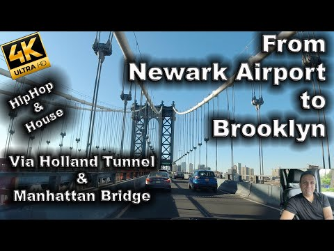 Driving From Newark Airport To Brooklyn. Holland Tunnel and Manhattan Bridge.