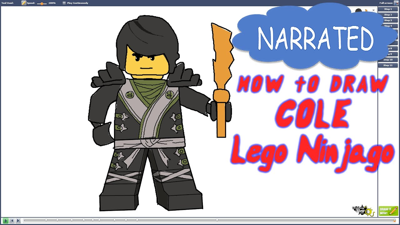 How To Draw Cole From Lego Ninjago NARRATED YouTube