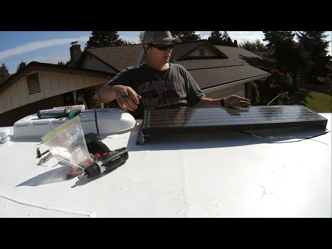 RV ROOF REPAIR (Part 4) - Reinstalling 50Watt Solar panel + Removing RV Fridge & Cleaning