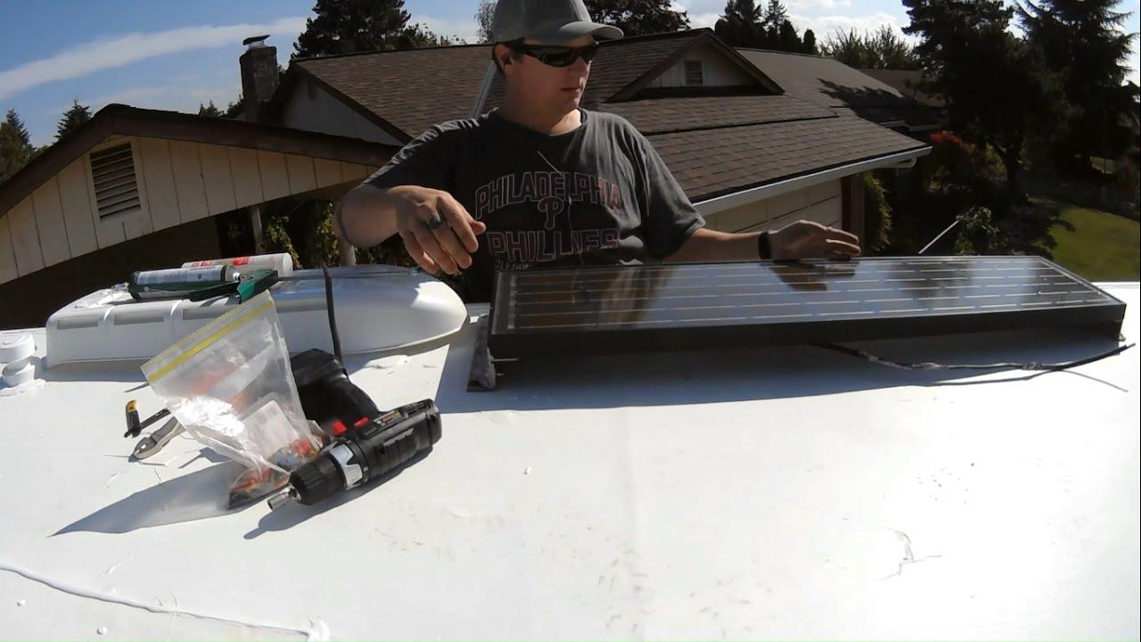 Rv Roof Repair Part 4 Reinstalling 50watt Solar Panel