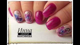 ❤ ВЕСЕННИЙ дизайн ногтей гель лаком ❤ гель лаки ART BEAUTY ❤ БАБОЧКА на ногтях ❤ ЦВЕТЫ на ногтях ❤