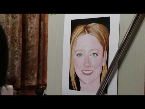 Painting of Judy Greer (work in process 14)