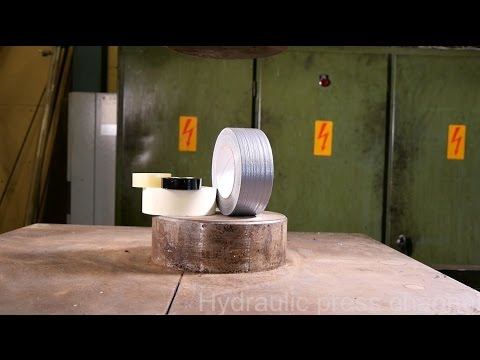 Crushing duct tape with hydraulic press