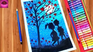 Romantic Couple under love tree drawing with Oil Pastels easy steps