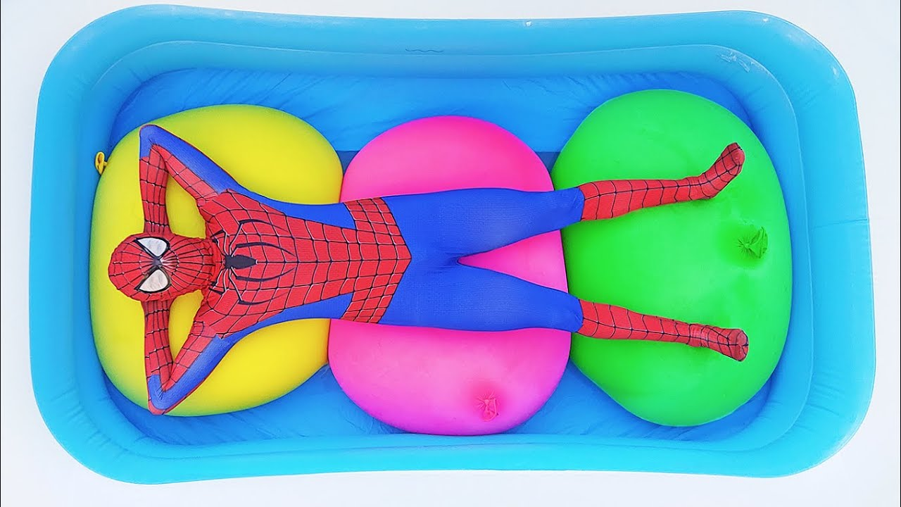 Spider Man Popping Giant Water Balloons! #3