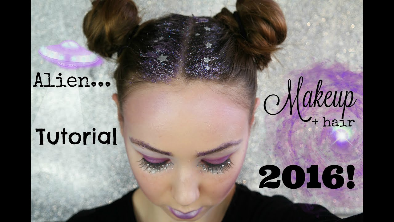 Space Girl Alien Makeup Amp Hair Tutorial 2016 Youtube