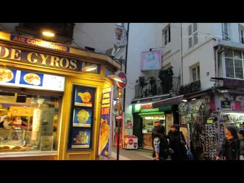 Evening walk around Saint Michel District in Paris at Night 01