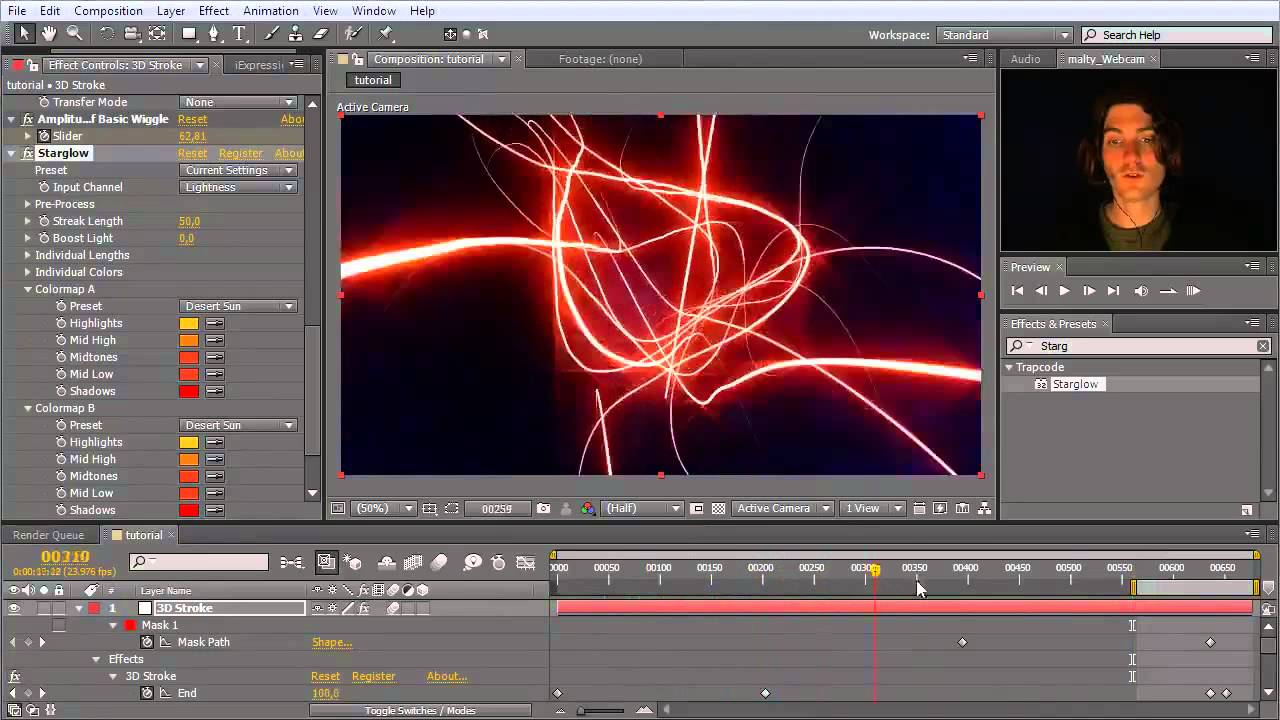 After effects tutorial trapcode 3d stroke