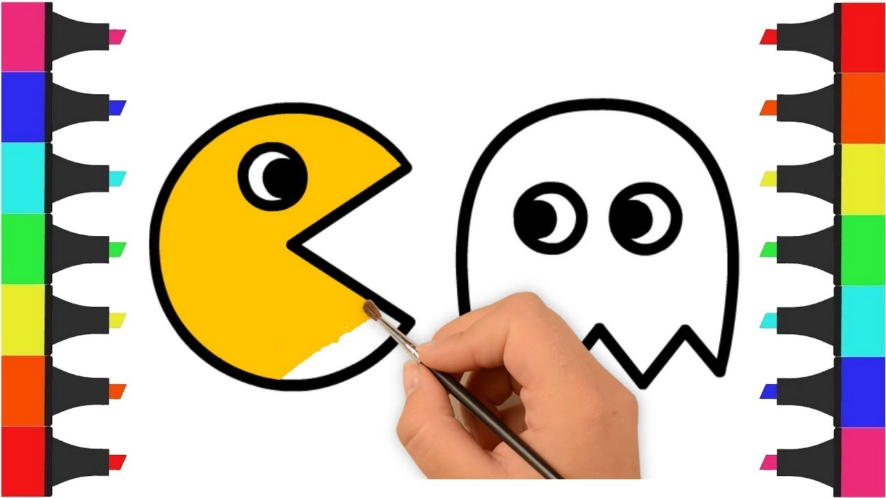 Pac Man Coloring Pages For Kids How To Draw And Color Pac Man Learn Colors With Coloring Video Youtube