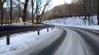 リアルマリオカートで冬の榛名山、榛名湖を走る.