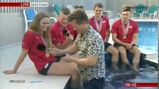 BBC BREAKFAST - MIKE BUSHELL STUMBLES NECK DEEP INTO POOL DURING INTERVIEW