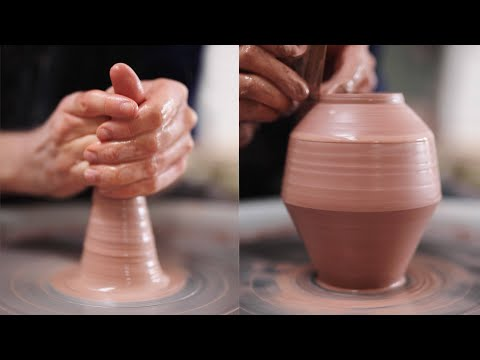 Throwing an Angular Vase on the Potter's Wheel (#Shorts)