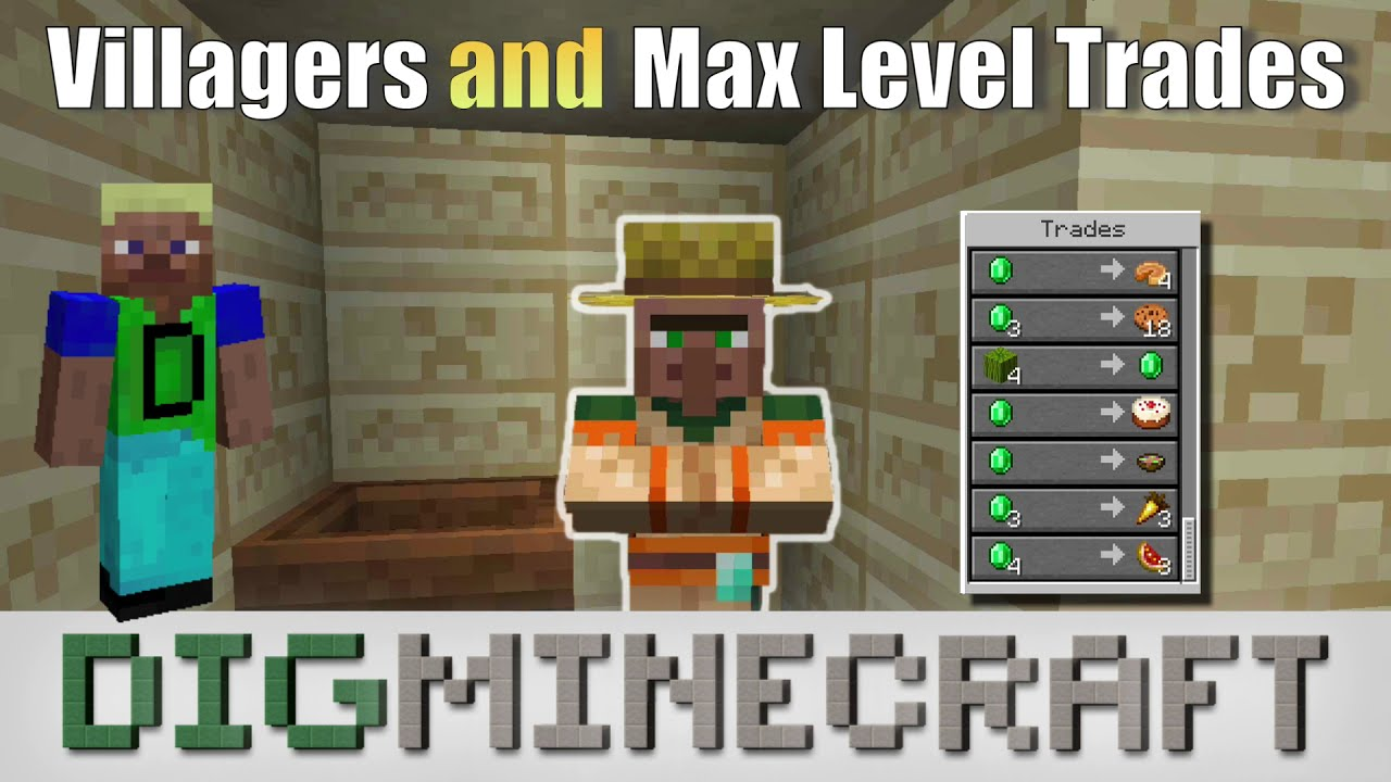 Villagers and Max Level Trades in Minecraft