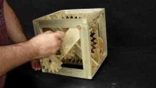 Rolling Cube Gear Side -- Kinetic Wooden Mechanical Sculpture  --  Backside