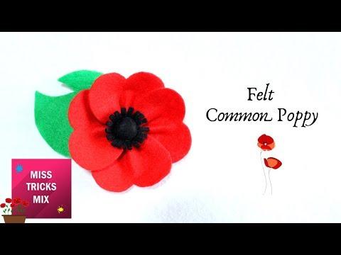 Felt Red Common Poppy Flower   Spring Crafts.
