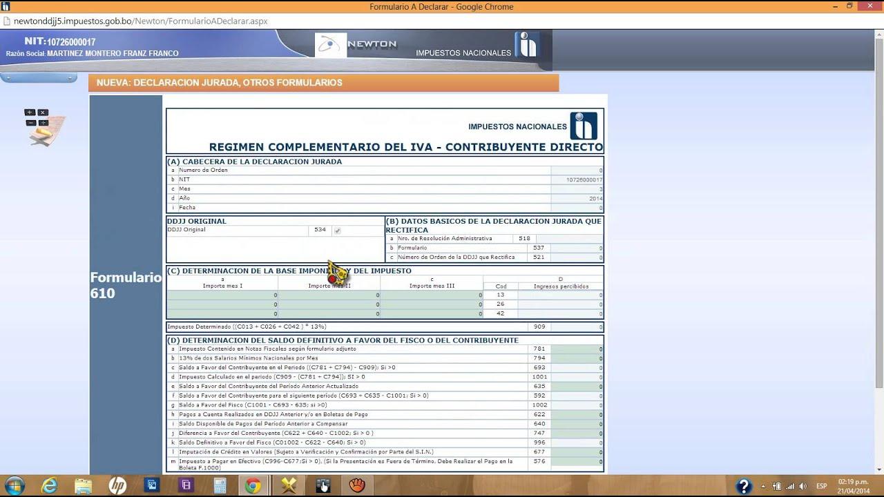 Llenado de formulario rc iva 610 youtube for Oficina virtual impuestos