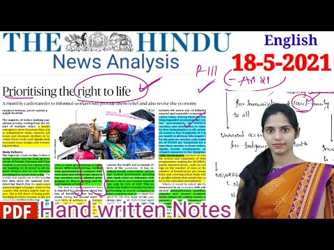The Hindu Newspaper Analysis in English/ 18-May-2021 /Current Affairs for UPSC /IAS .