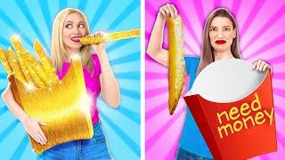 CHEAP VS EXPENSIVE FOOD CHALLENGE!  Rich Vs Broke Foodies by 123 Go! GENIUS