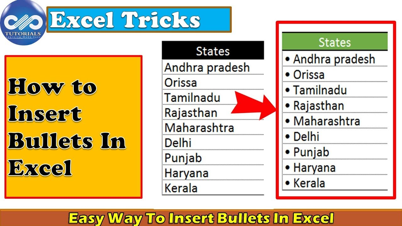 Easy Ways To Insert Bullets In Excel | Insert bullet points | Excel Tips |dptutorials